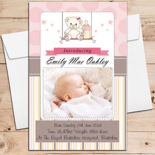 10 Personalised Baby Girl Birth Announcement Thank You PHOTO cards N107